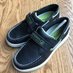 NIB Sperry Cupsole Velcro Black Boys Boat Shoes